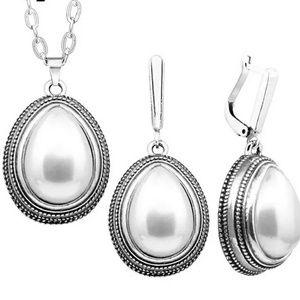 Vintage inspired water drop pearl jewelry set